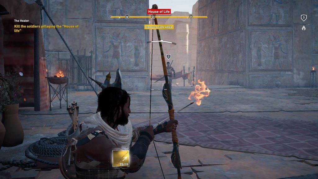Arhh, ikke helt, måske fordi jeg tog templet bagfra! Bug i spillet. Jeg bruger da bare en brændende pil!